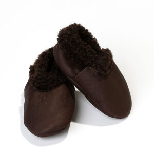Baby booties made of lambskin – Choco